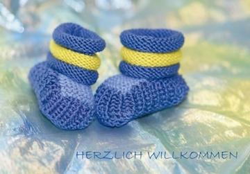 Bild von Geburt/Taufe: Herzlich Willkommen Schuhe blau