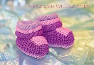 Bild von Geburt/Taufe: Herzlich Willkommen Schuhe rosa